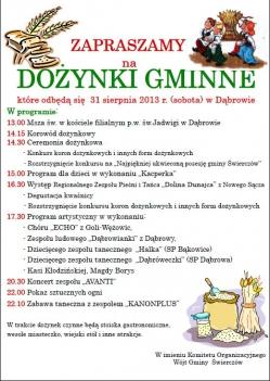 Dożynki Świerczów Dąbrowa 2013 - program aktualny
