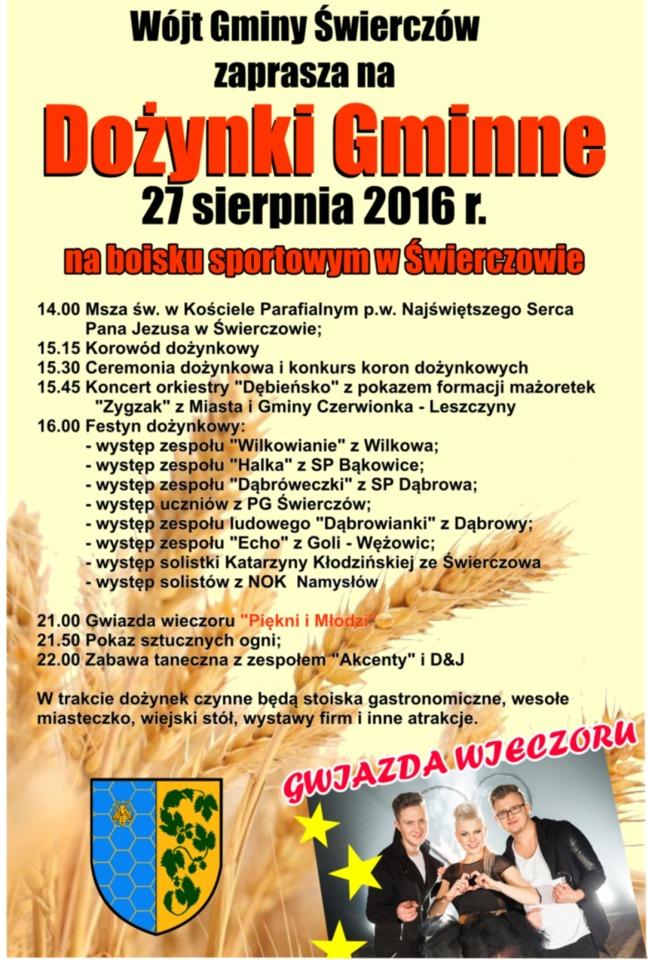 Dożynki 2016 w Gminie Świerczów