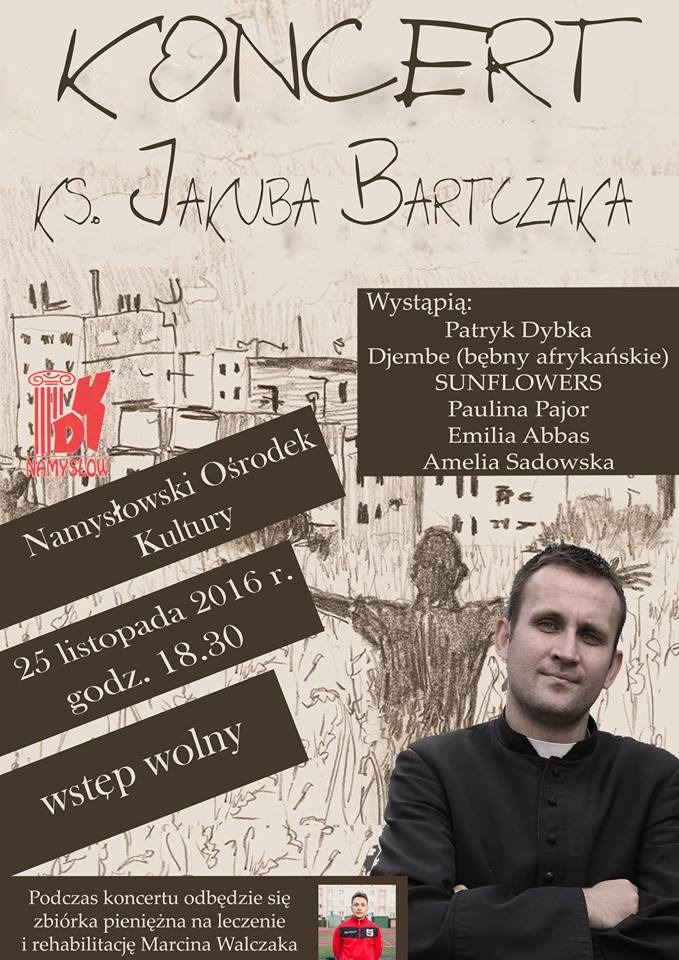 ks. Jakub Bartczak zagra wNamysłowie