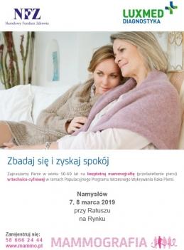 Badania mammograficzne w Namysłowie
