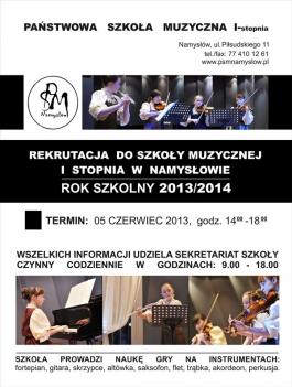 Ogłoszenie o rekrutacji do szkoły muzycznej w Namysłowie
