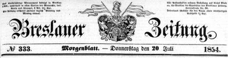 Breslauer Zeitung nr 333 z 1854 winieta