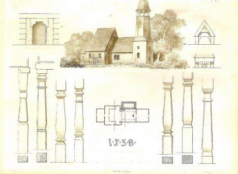 Układ architektoniczny starego drewnianego kościoła - Smogorzów