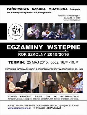 Rekrutacja do Szkoły Muzycznej w Namysłowie