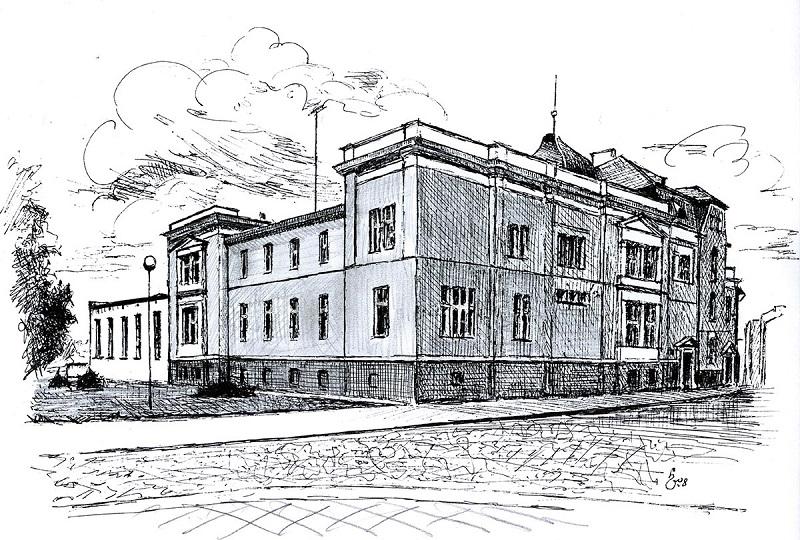 Urząd Miejski wNamysłowie na rysunku Henryka Ostrowskiego