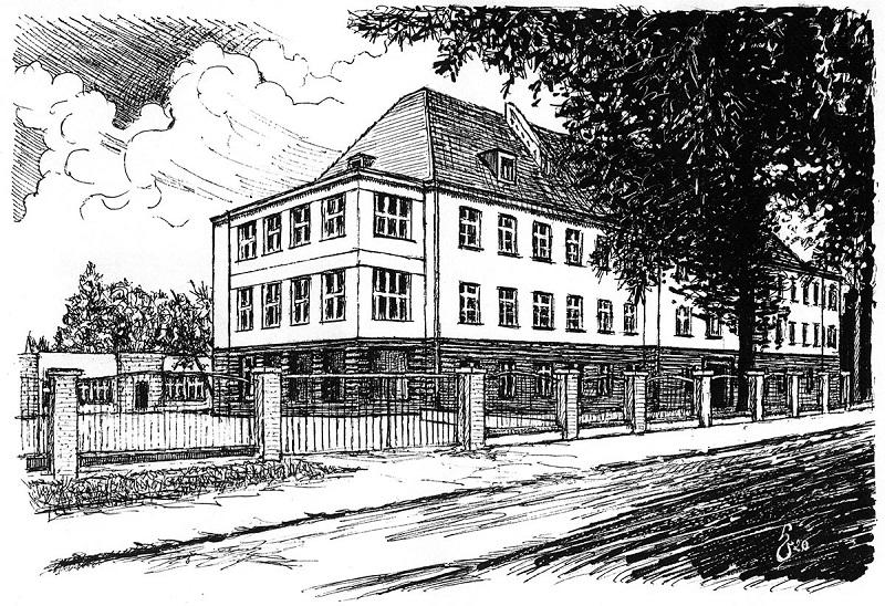 Szkoła Podstawowa nr 2 przy ul. Reymonta 5 (rysunek Henryka Ostrowskiego)