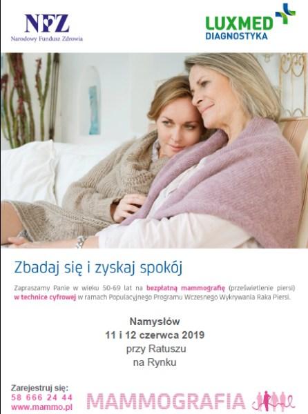 Darmowe badania mammograficzne w Namysłowie