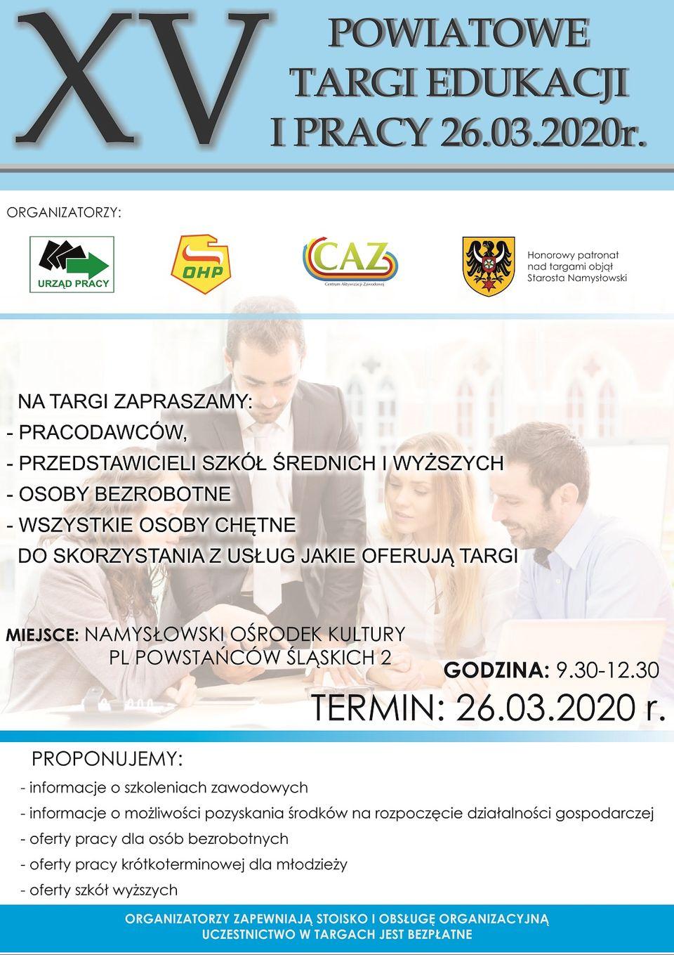 XV Powiatowe Targi Edukacji i Pracy w Namysłowie