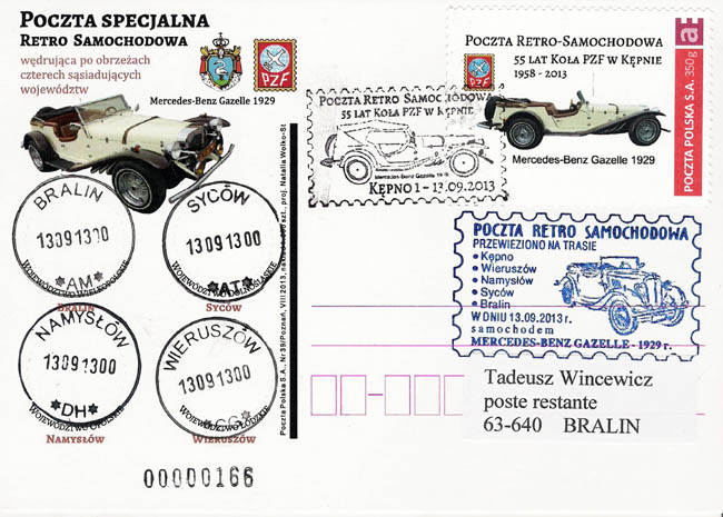 """Kartka pocztowa """"Retro poczta samochodowa"""" z obiegu"""